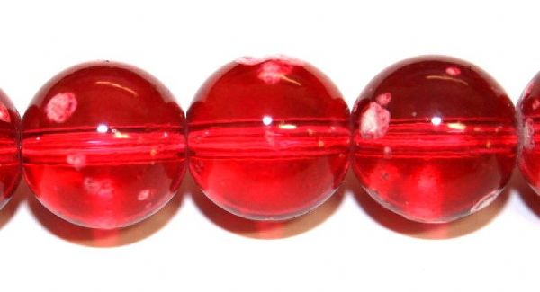 42pieces x 14mm Dark red colour round shape bubble gum glass beads / speckled glass beads -- 3005137